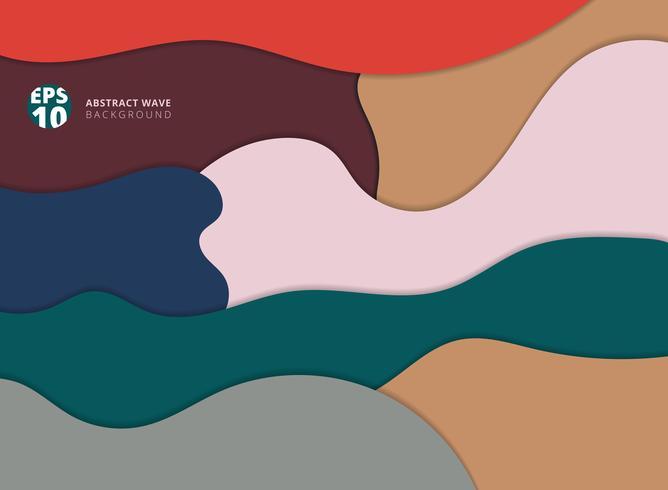 Abstraktes Papier schnitt die Mehrfarben Welle mit Schattenhintergrund-Kopienraum.