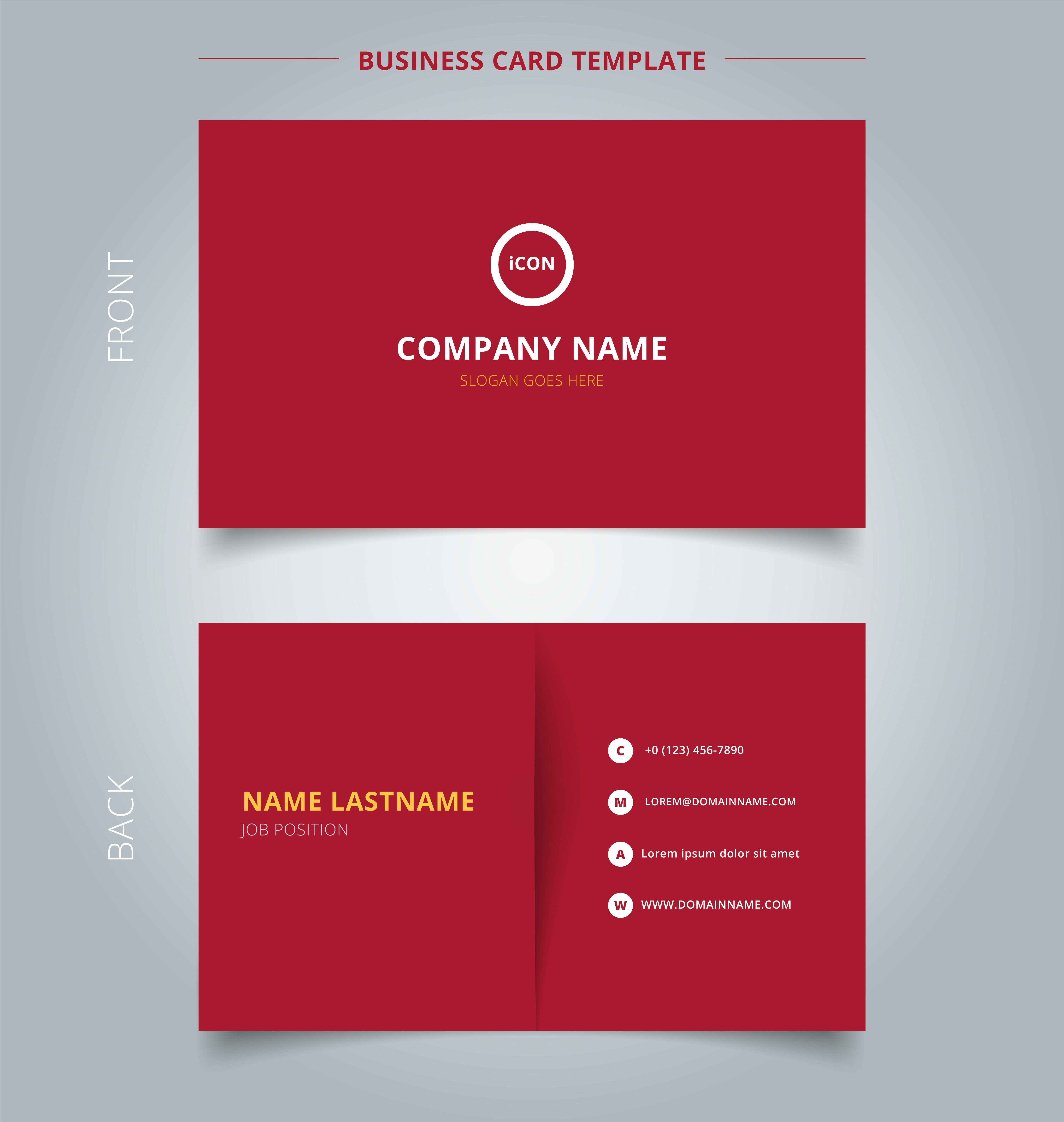 creative business card and name card template red color