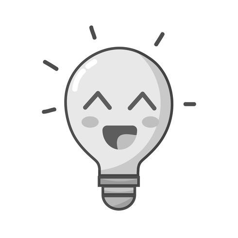 idea de bombilla feliz lindo kawaii en escala de grises