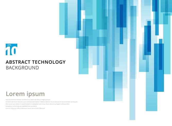 La technologie abstraite verticale carrés géométriques superposés forme couleur bleu sur fond blanc avec espace de copie.