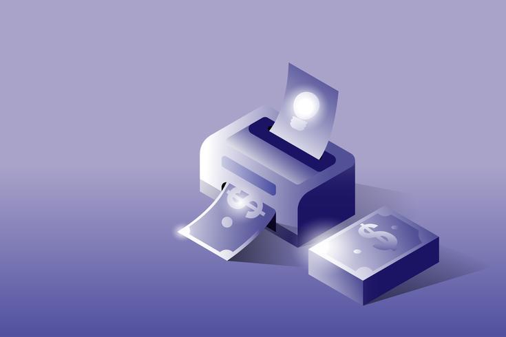 Impresora isométrica en 3D idea a dinero. Concepto empresarial y financiero.