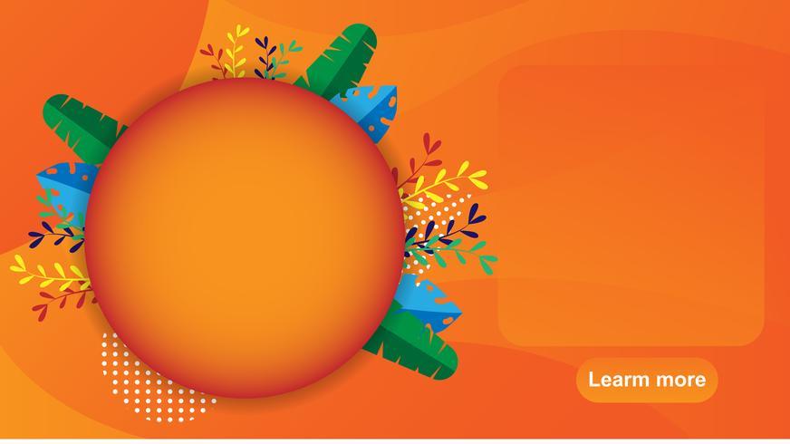 Banner de venta de verano, etiqueta, web. Folleto y bono naranja. Promoción de descuento de vacaciones y concepto de precio especial. Palmera tropical moderna, hoja de plátano. diseño de ilustración vectorial.