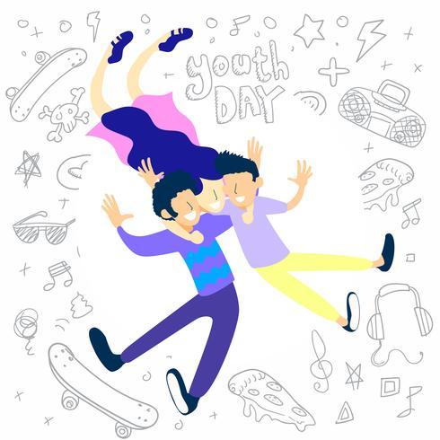 desenho de vetor de dia de juventude, dia de amizade