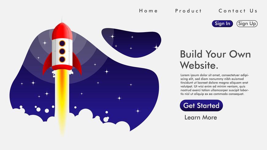 Web design et page de destination avec une fusée vecteur libre