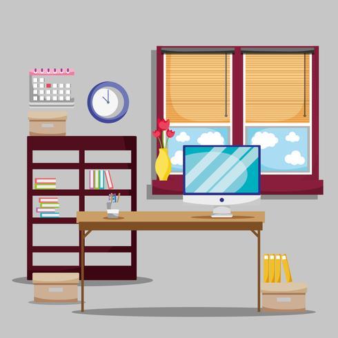 bureau avec accessoires de bureau plat pour travailler