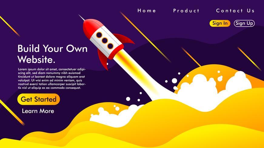 Diseño web y landing page con un cohete Free Vector.