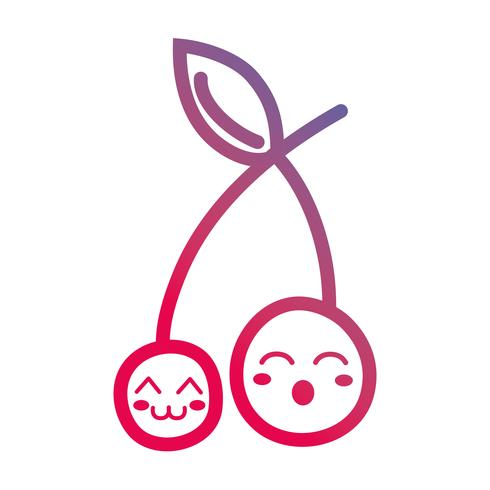 Linie kawaii niedliche Kirschfrucht