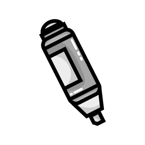 disegno della penna evidenziatore in scala di grigi per importanti informazioni sul documento