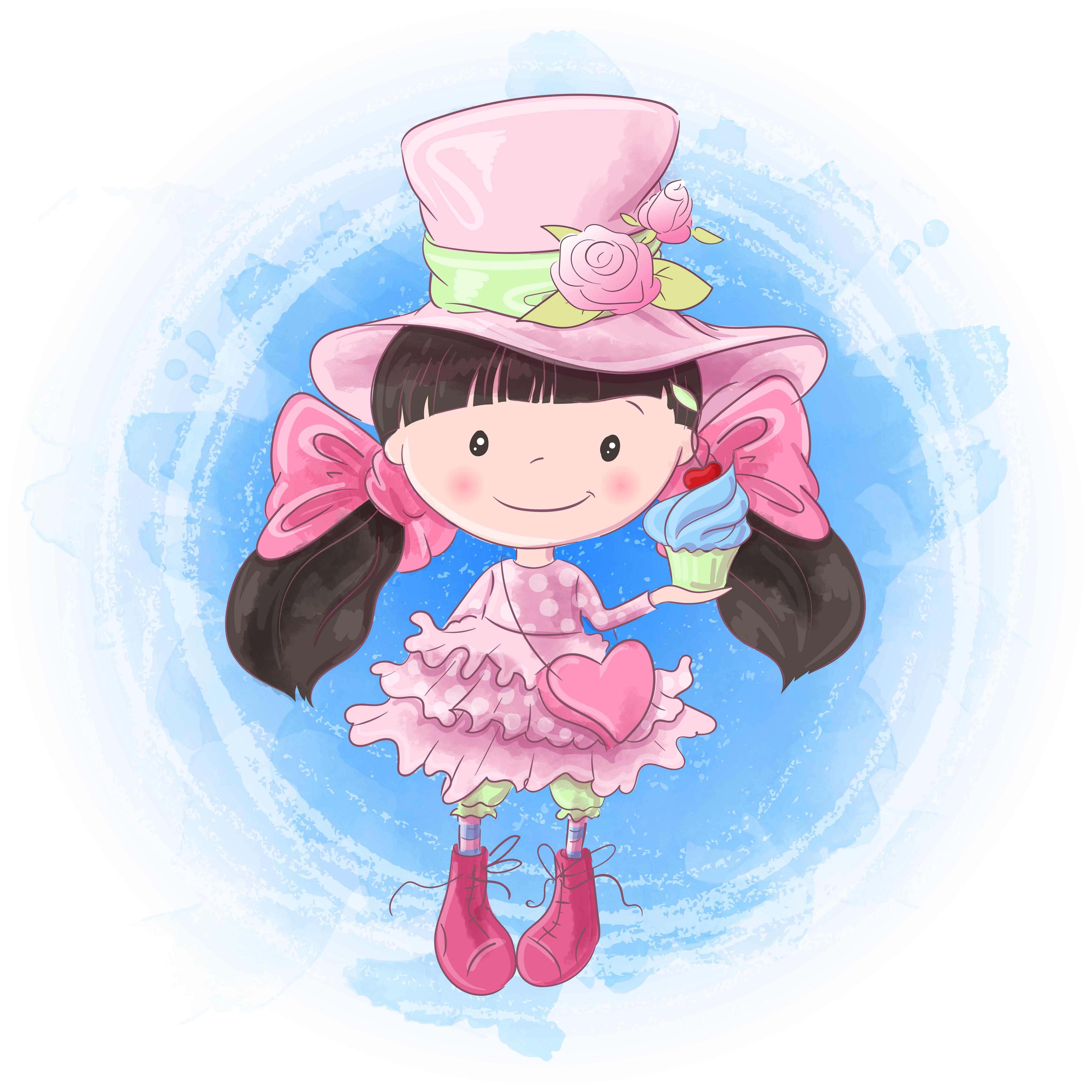 Cute Cartoon Girl Hand Drawing Vector Illustration Download Free