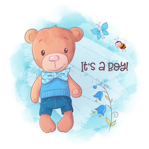 Illustration vectorielle de dessin animé mignon ours dessinés à la main