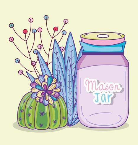 Dibujos animados de tarro de masón de jardín