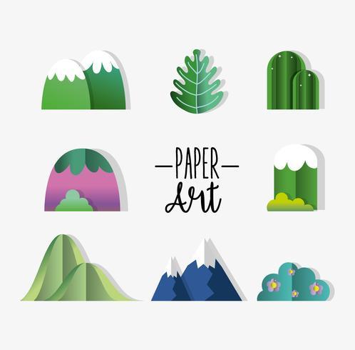 Conjunto de iconos de arte de papel