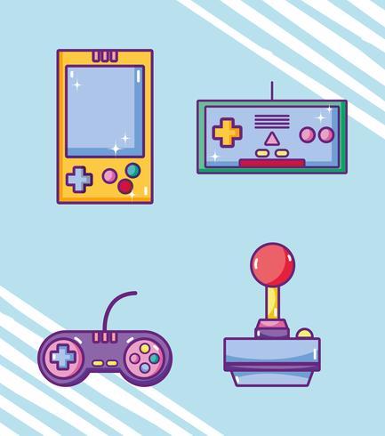 Set di cartoni animati retrò videogiochi