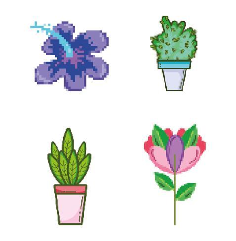 Set di icone pixelated giardino e natura