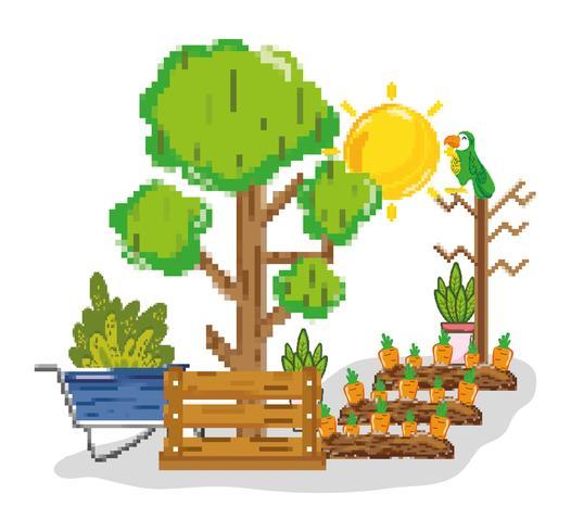 Cartoni animati pixel di raccolta agricola