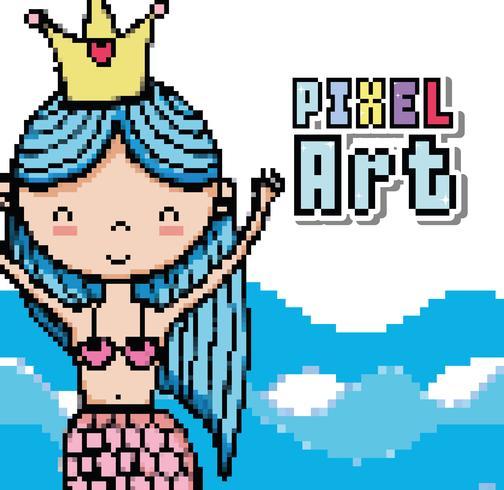 Pixel art dibujos animados del mundo acuático