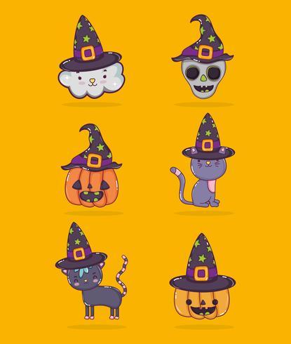 Conjunto de dibujos animados de halloween