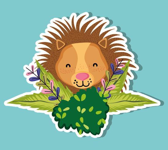 Cartone animato carino leone della fauna selvatica