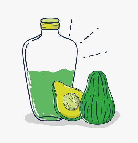 Cartone animato di succo di avocado