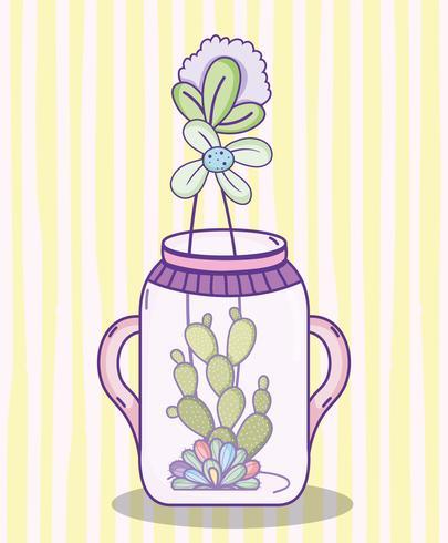 Dibujos animados de tarro de masón de jardín vector