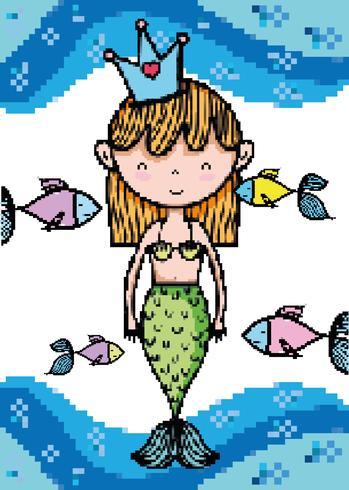 Pixel art vattenlevande tecknade filmer