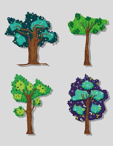 Set von Waldbäumen