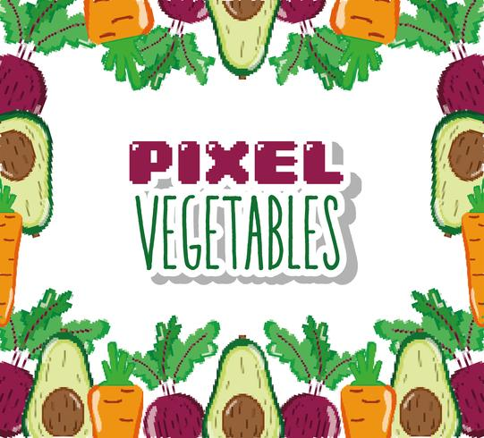 Cartoni animati di verdure pixel