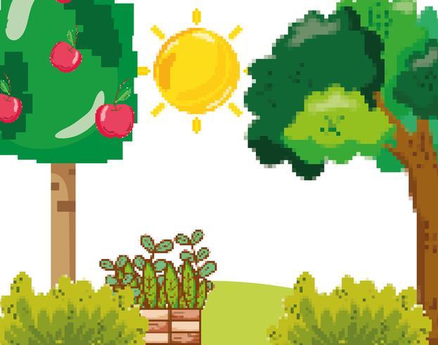 Pixelated garden scenery