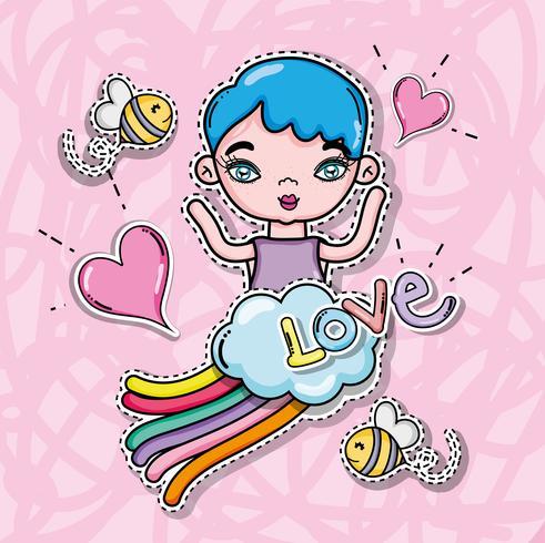 Cartão bonito da menina e dos desenhos animados