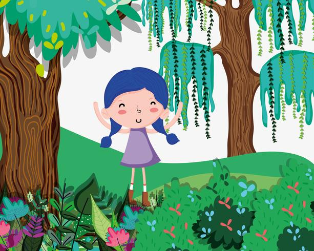 Vacker flicka på skogen vektor