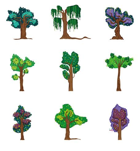Set van bos bomen