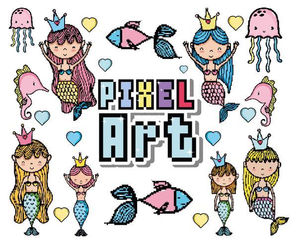 Cartoni animati del mondo acquatico Pixel art