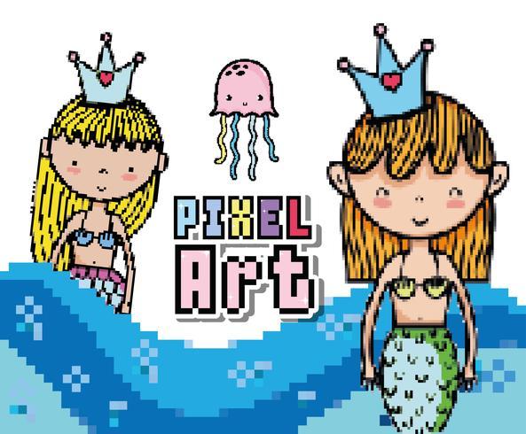 Dessins du monde aquatique pixel art