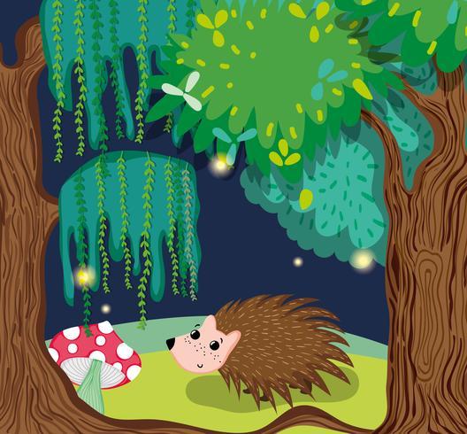 Lindo puercoespín en el bosque
