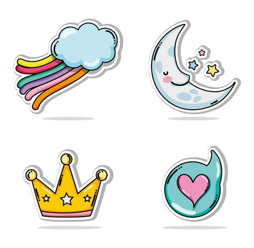 Set di cartoni animati carini e adorabili