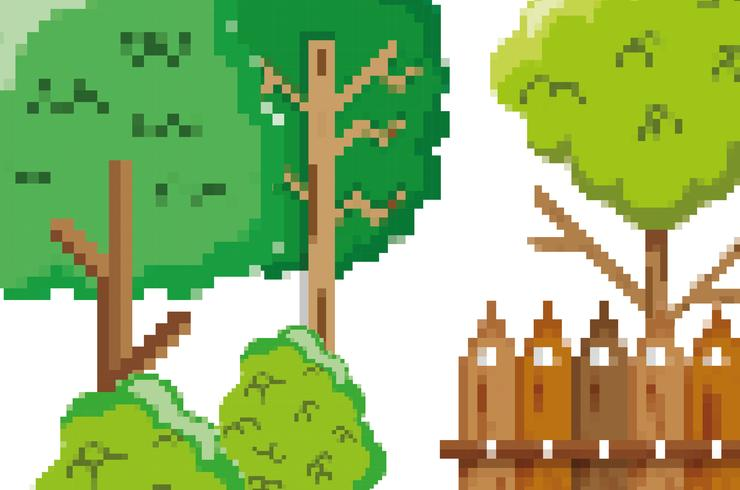 Scenario del giardino pixelato