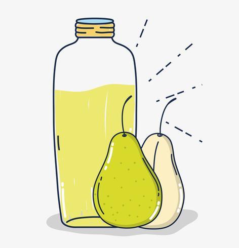 Dibujos animados de jugo de fruta pera