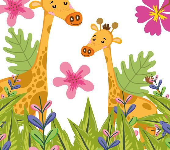 Niedliche Cartoons der niedlichen Giraffenwild lebenden tiere