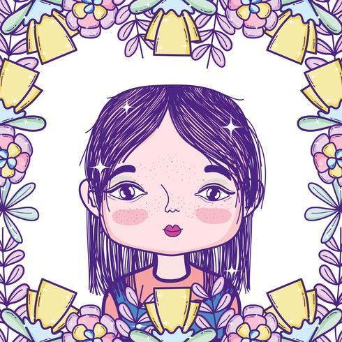 Cartone animato ragazza carina