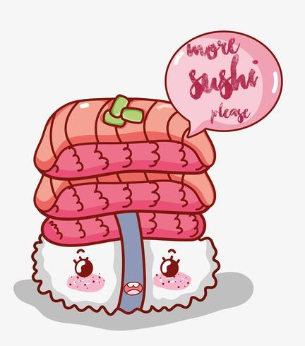 Sushi and rolls cute kawaii cartoons vector