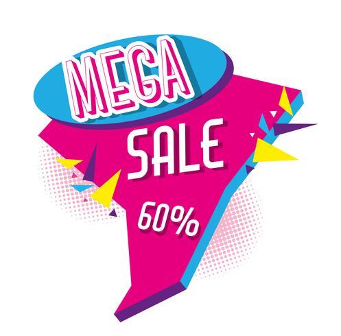 Mega verkoop kortingen poster memphis stijl