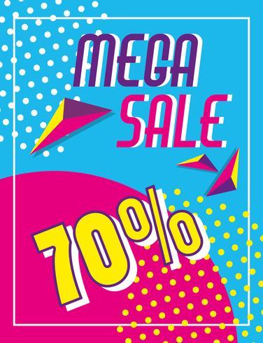 Mega venda descontos cartaz estilo memphis