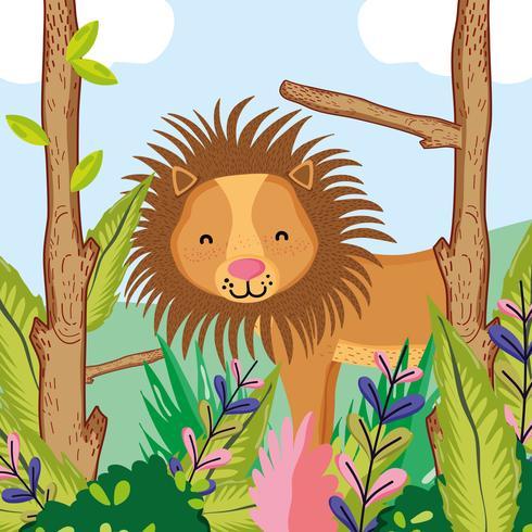Niedlicher Löwe-Cartoon der wild lebenden Tiere