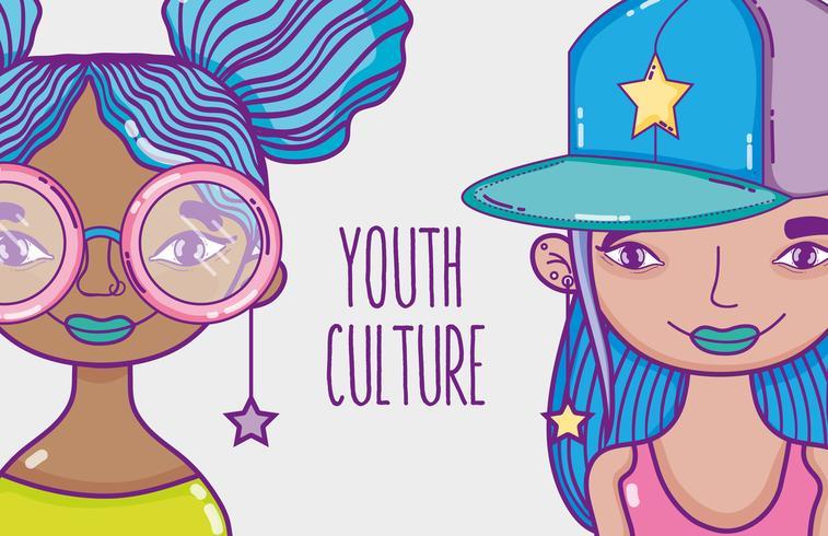 Desenhos animados das mulheres millenial da cultura da juventude