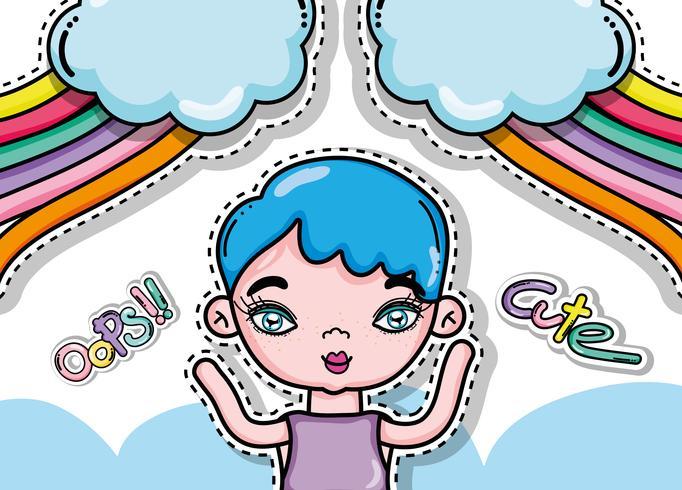Schattig meisje en tekenfilms kaart