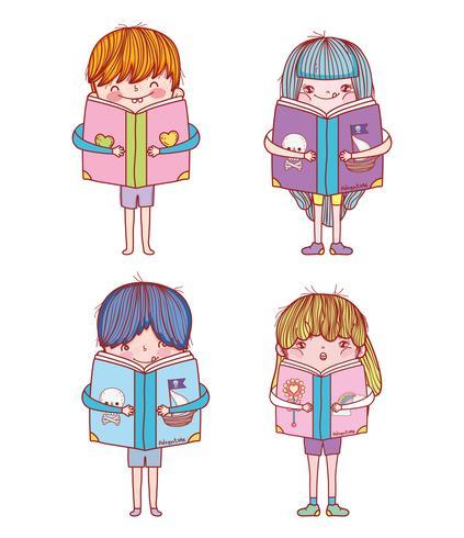 impostare ragazzi e ragazze con l'istruzione di libri