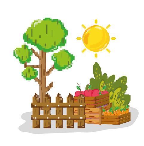 Bauernhofernte pixelig Cartoons