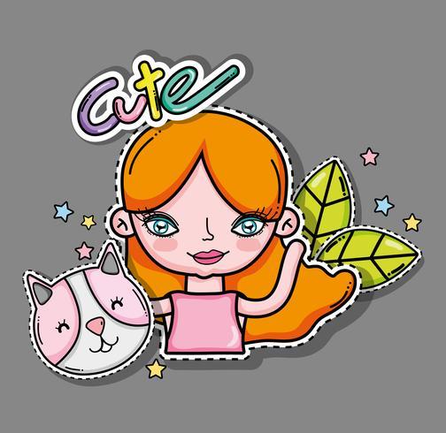 Carta di ragazza e cartoni animati carino