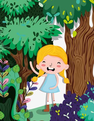 Hermosa chica en el bosque