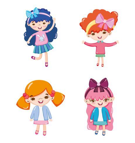 Conjunto de desenhos de menina cute